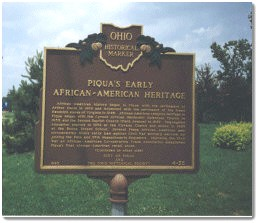 State Historical Marker honoring the African American History of Piqua Ohio